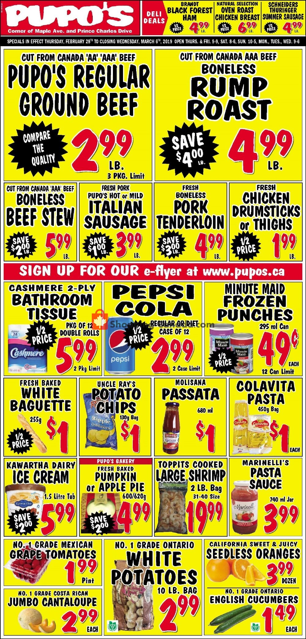 Flyer Pupo's Food Market Canada - from Thursday February 28, 2019 to Wednesday March 6, 2019