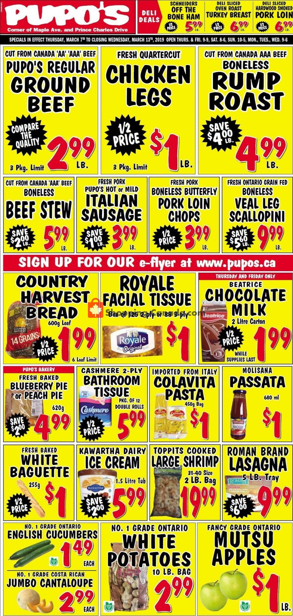 Flyer Pupo's Food Market Canada - from Thursday March 7, 2019 to Wednesday March 13, 2019