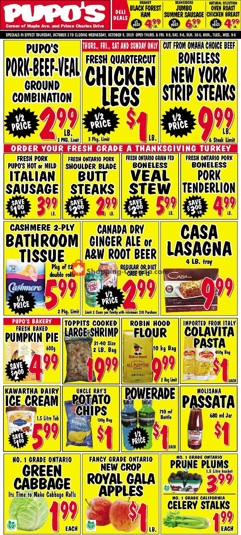 Flyer Pupo's Food Market Canada - from Thursday October 3, 2019 to Wednesday October 9, 2019