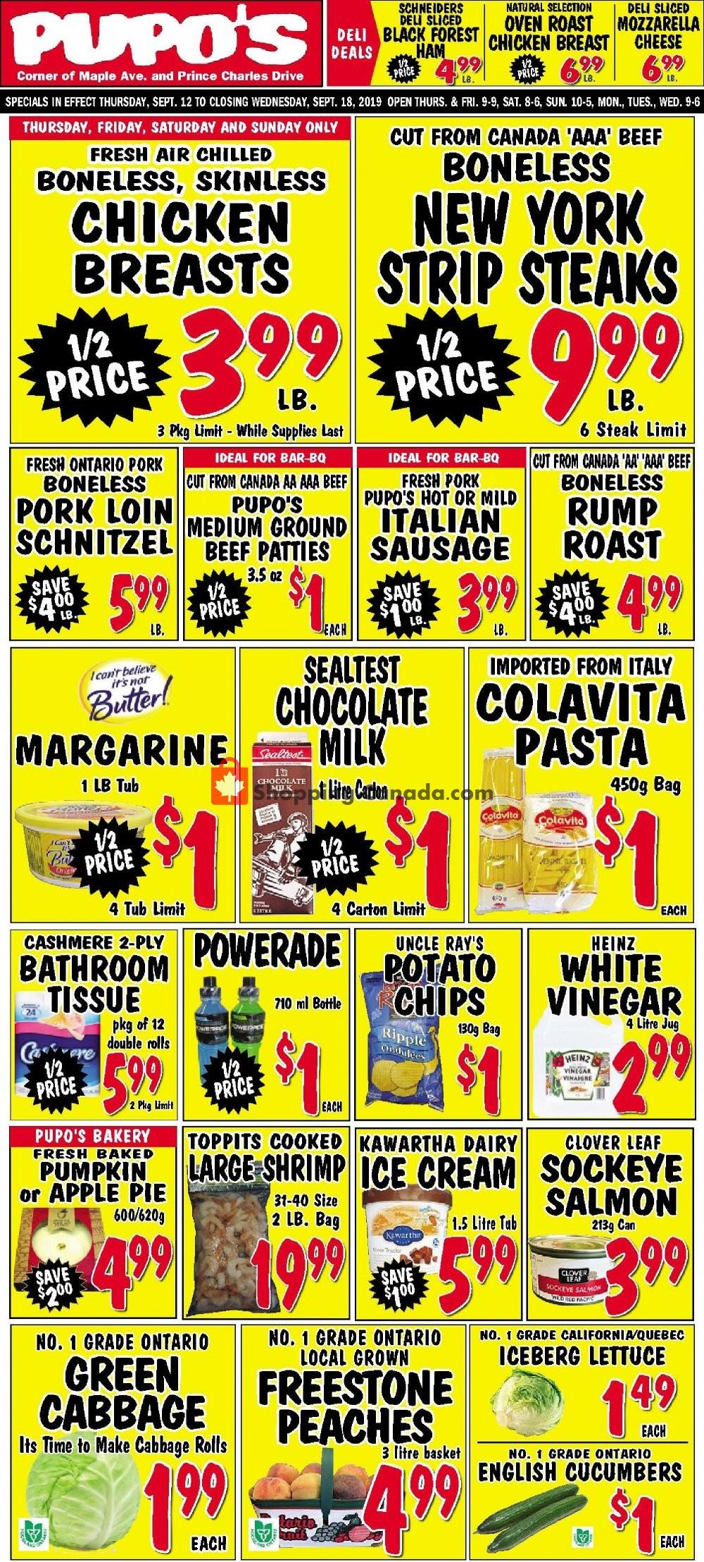 Flyer Pupo's Food Market Canada - from Thursday September 12, 2019 to Wednesday September 18, 2019