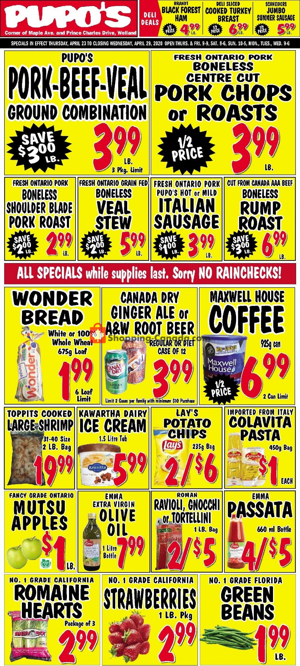 Flyer Pupo's Food Market Canada - from Thursday April 23, 2020 to Wednesday April 29, 2020