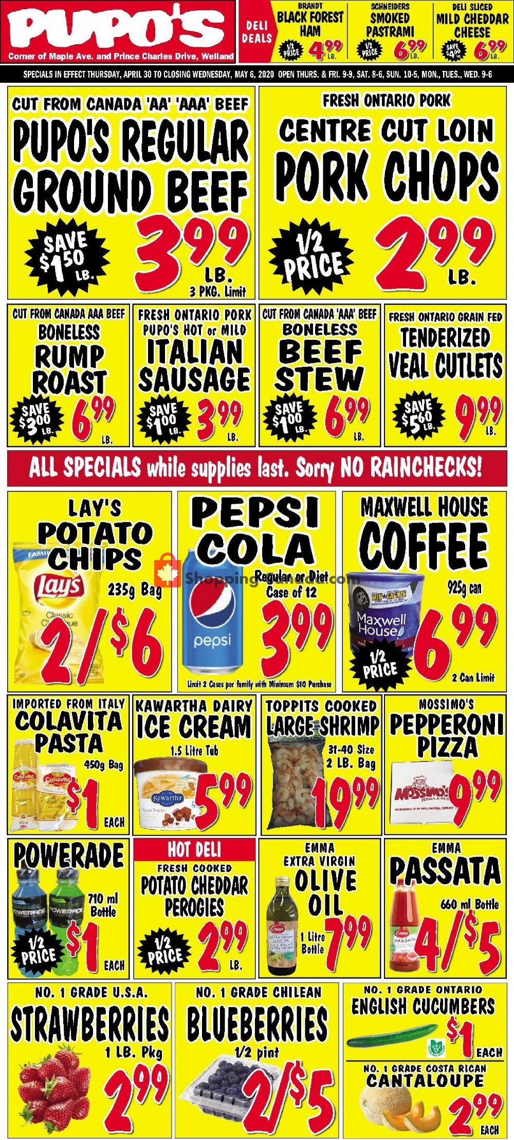 Flyer Pupo's Food Market Canada - from Thursday April 30, 2020 to Wednesday May 6, 2020