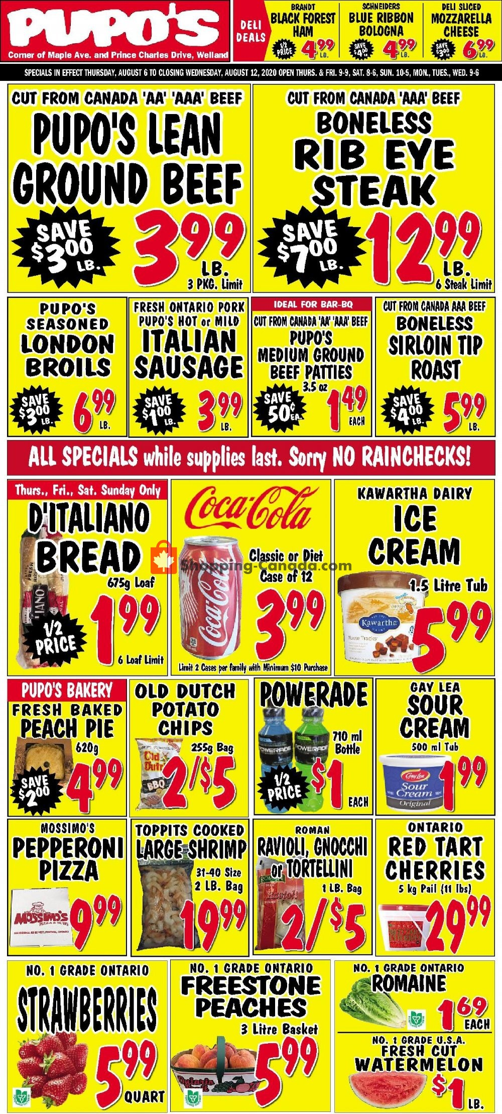 Flyer Pupo's Food Market Canada - from Thursday August 6, 2020 to Wednesday August 12, 2020