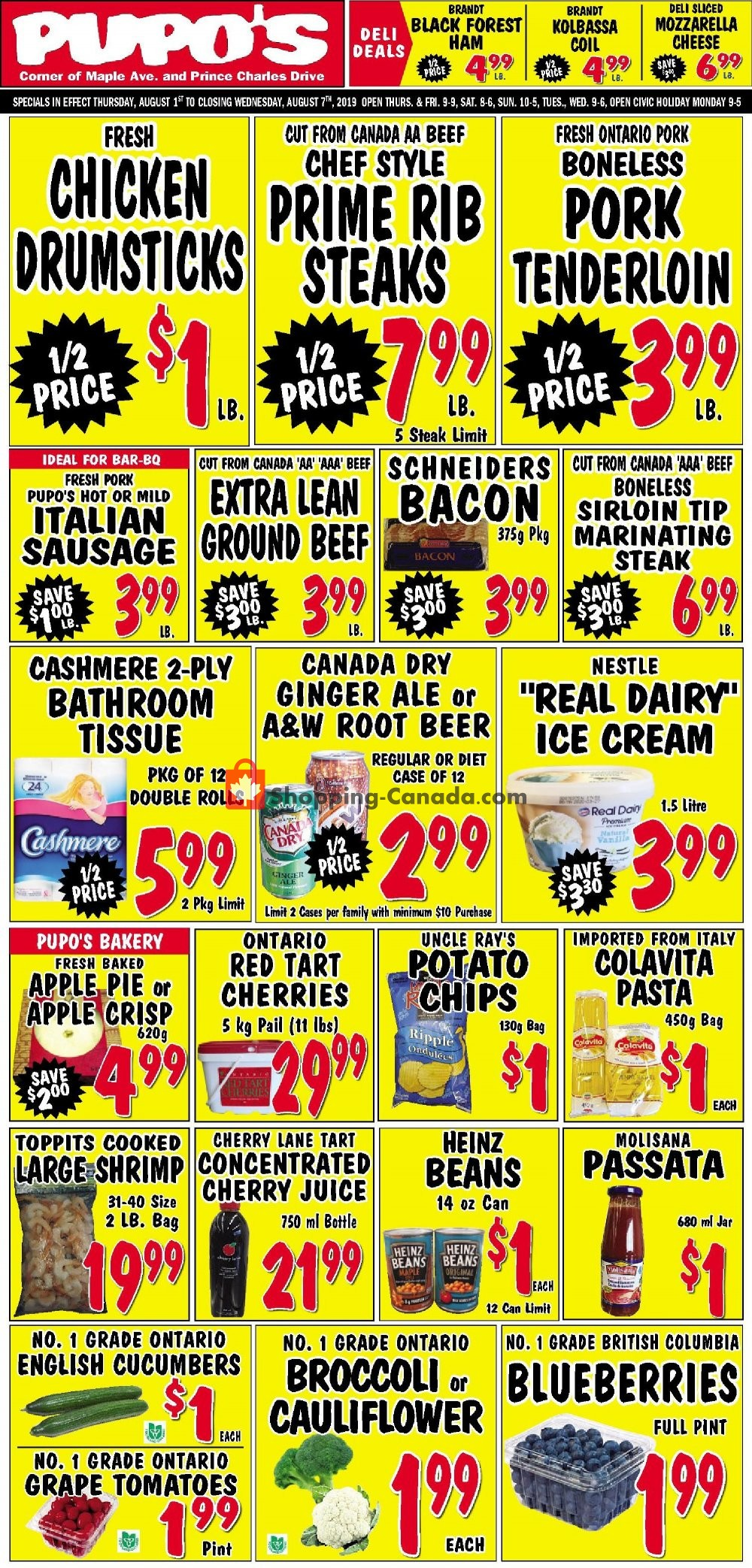 Flyer Pupo's Food Market Canada - from Thursday August 1, 2019 to Wednesday August 7, 2019