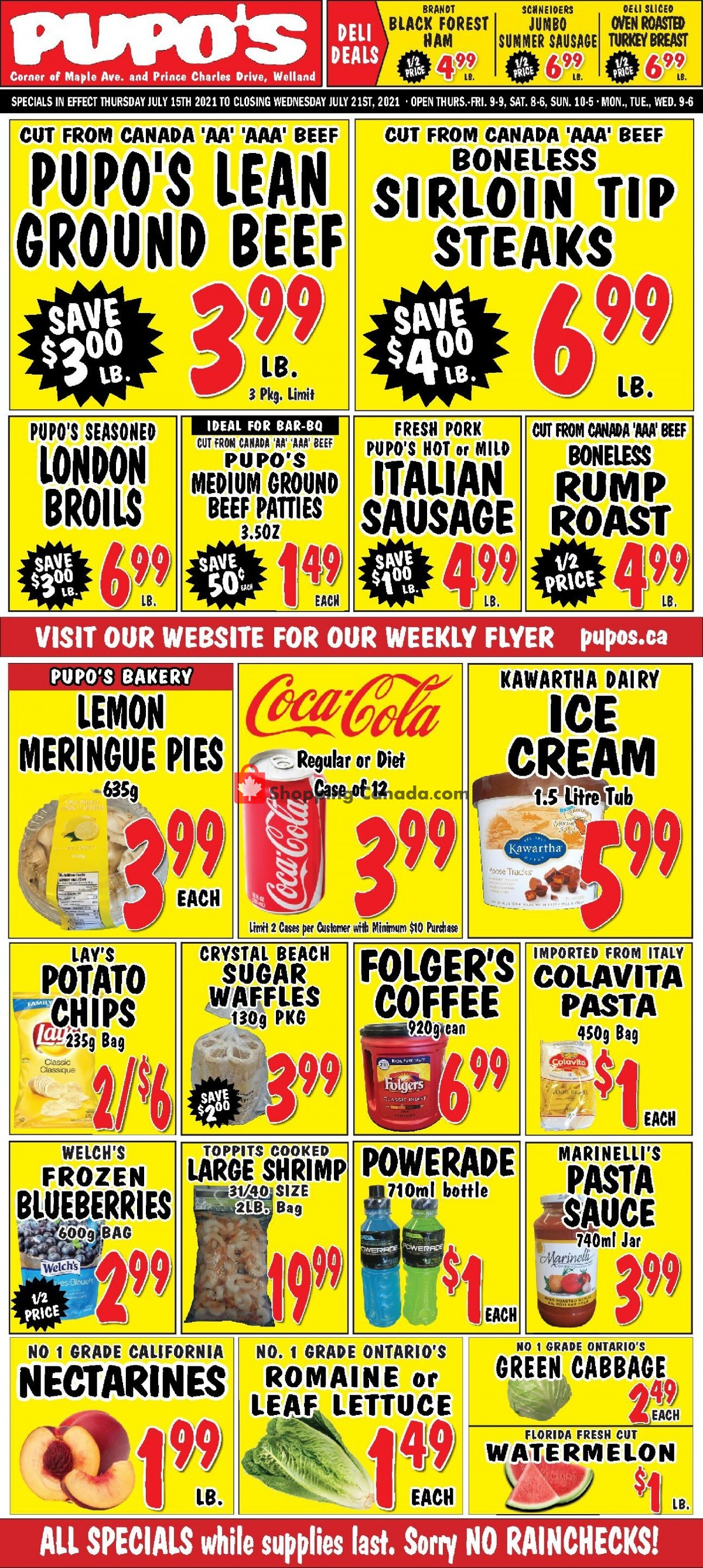 Flyer Pupo's Food Market Canada - from Thursday July 15, 2021 to Wednesday July 21, 2021