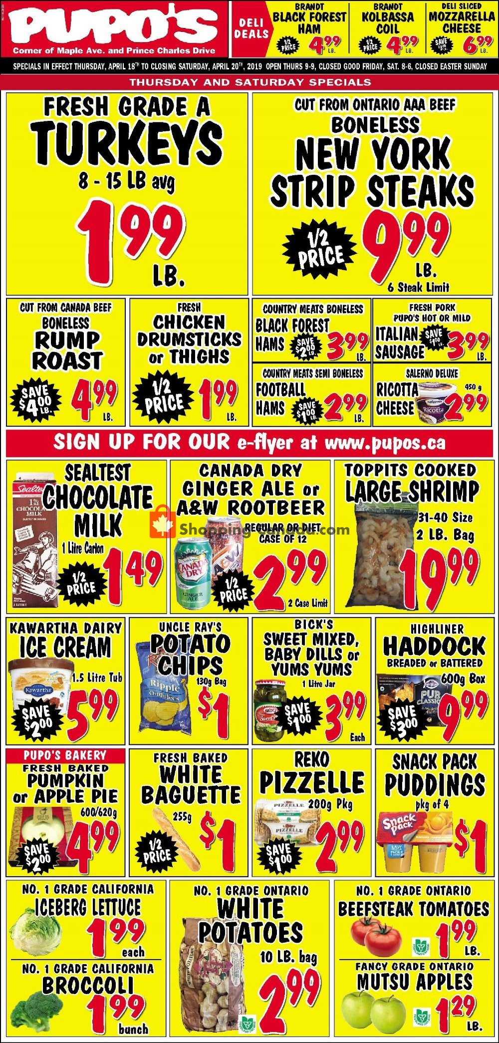 Flyer Pupo's Food Market Canada - from Thursday April 18, 2019 to Saturday April 20, 2019