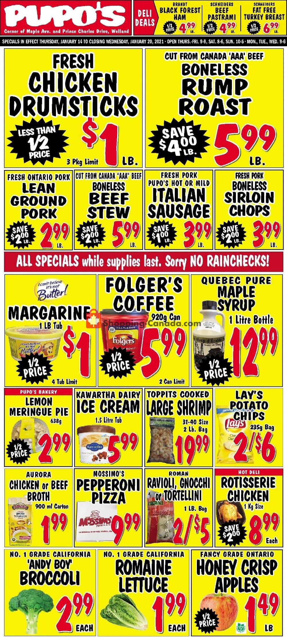 Flyer Pupo's Food Market Canada - from Thursday January 14, 2021 to Wednesday January 20, 2021