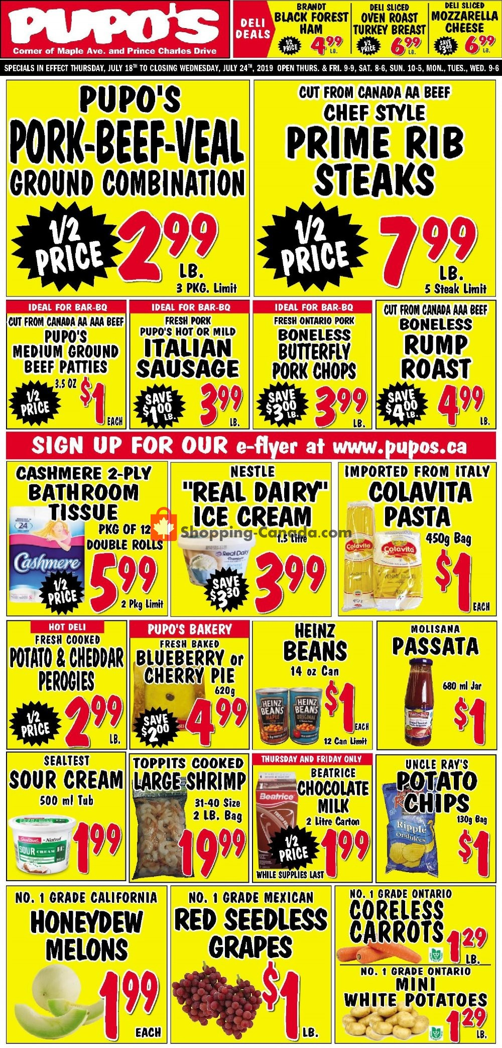 Flyer Pupo's Food Market Canada - from Thursday July 18, 2019 to Wednesday July 24, 2019