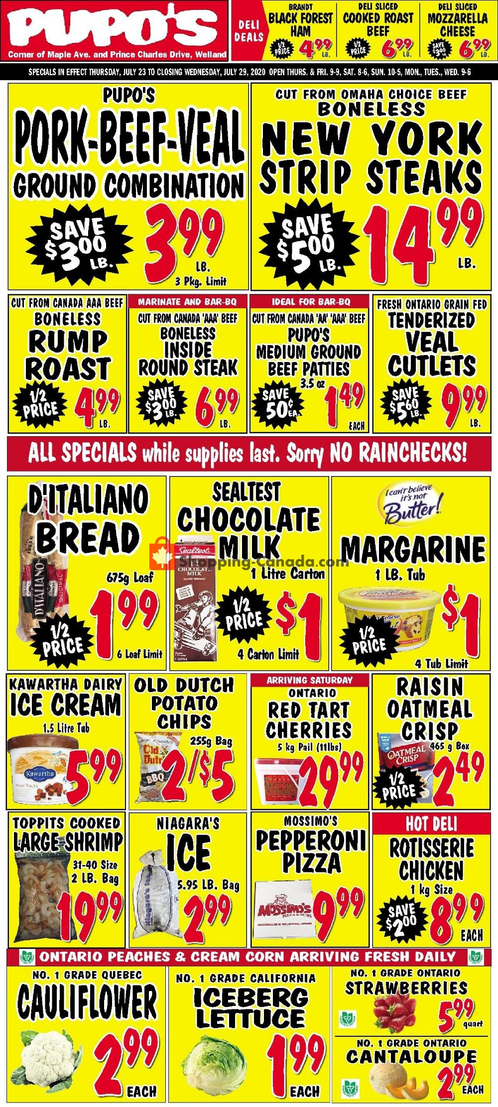 Flyer Pupo's Food Market Canada - from Thursday July 23, 2020 to Wednesday July 29, 2020