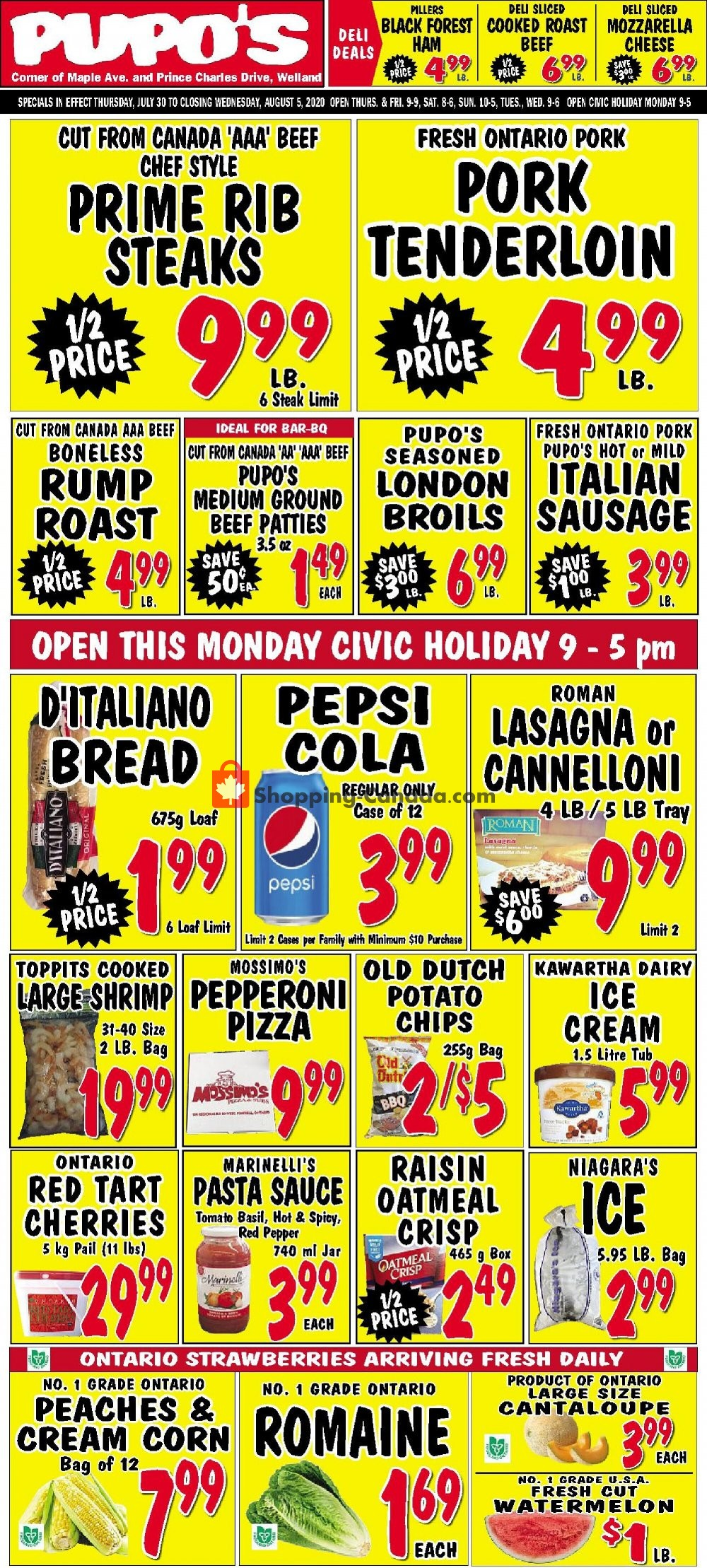 Flyer Pupo's Food Market Canada - from Thursday July 30, 2020 to Wednesday August 5, 2020