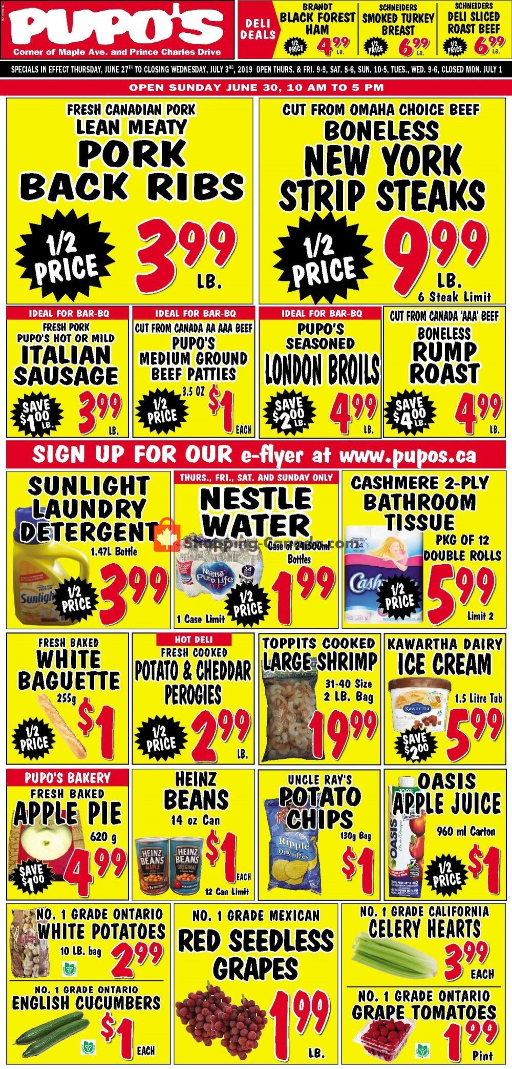 Flyer Pupo's Food Market Canada - from Thursday June 27, 2019 to Wednesday July 3, 2019