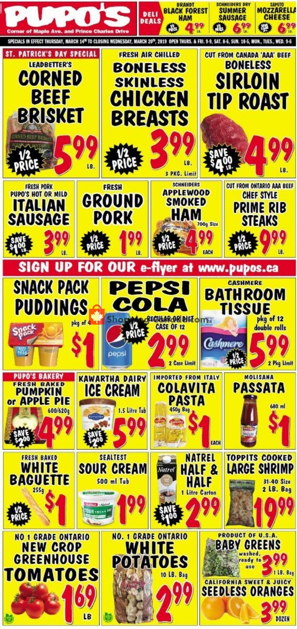 Flyer Pupo's Food Market Canada - from Thursday March 14, 2019 to Wednesday March 20, 2019