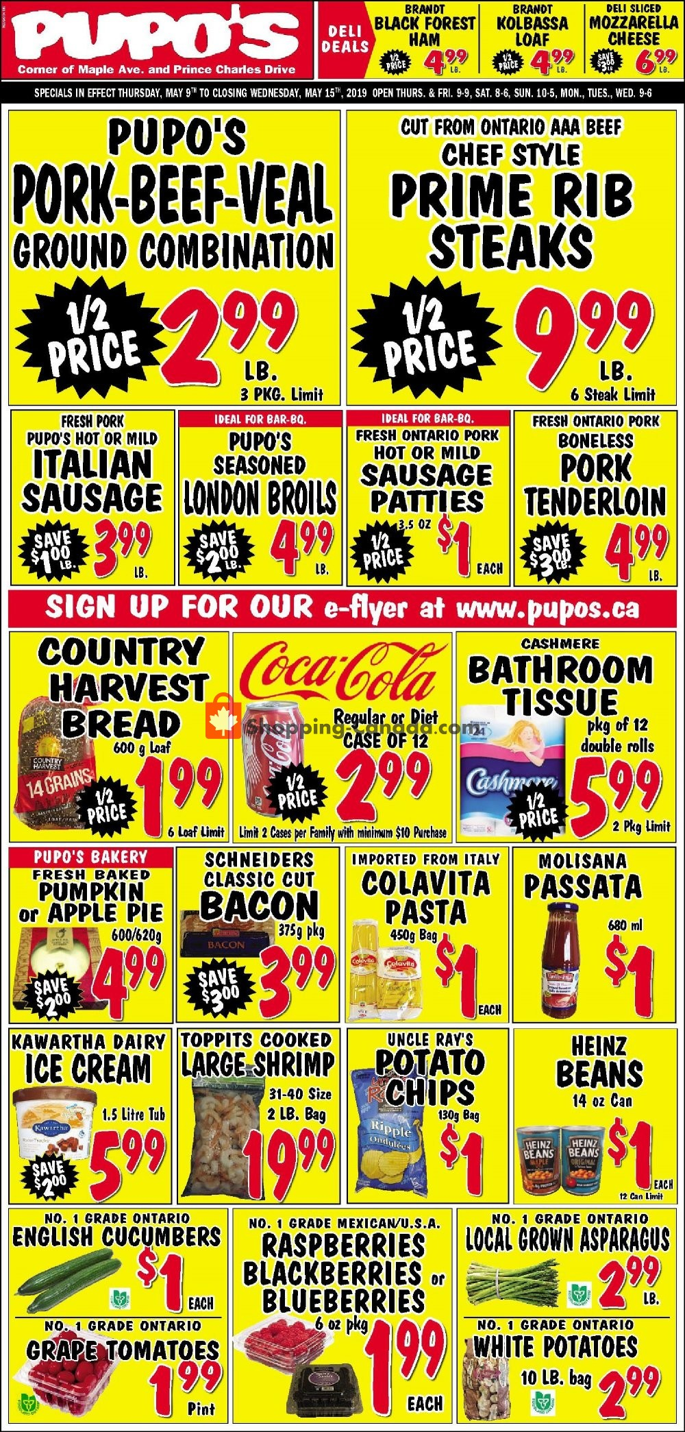 Flyer Pupo's Food Market Canada - from Thursday May 9, 2019 to Wednesday May 15, 2019