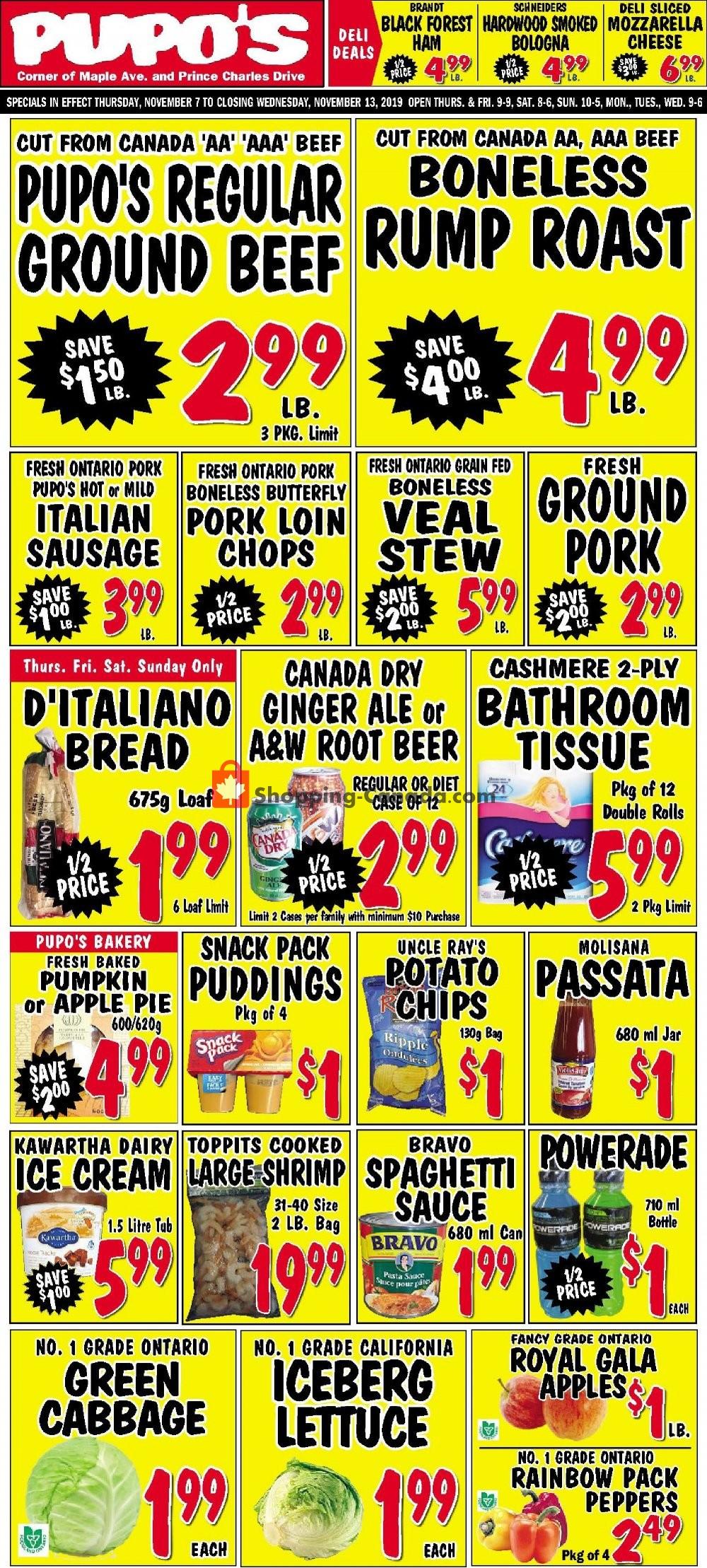 Flyer Pupo's Food Market Canada - from Thursday November 7, 2019 to Wednesday November 13, 2019
