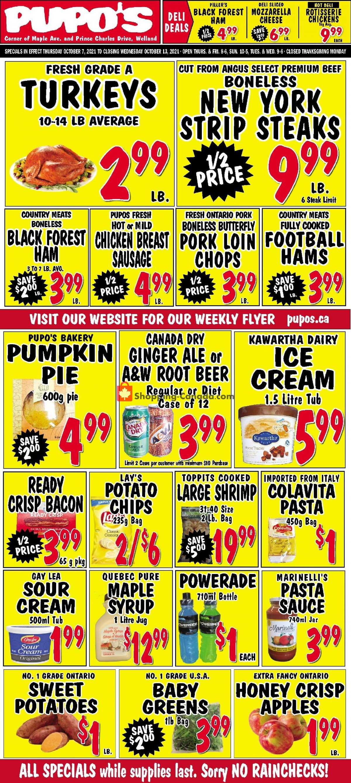 Flyer Pupo's Food Market Canada - from Thursday October 7, 2021 to Wednesday October 13, 2021