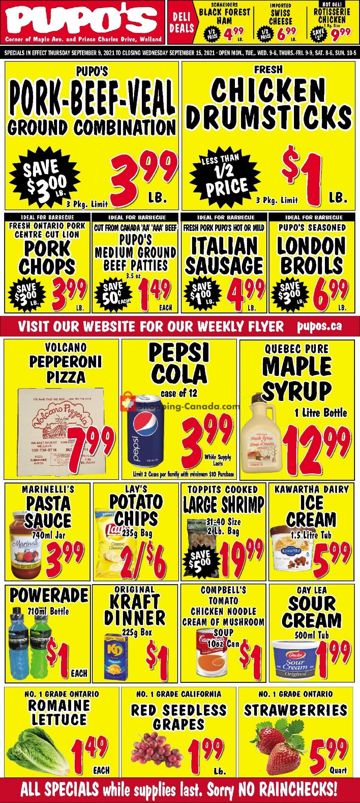 Flyer Pupo's Food Market Canada - from Thursday September 9, 2021 to Wednesday September 15, 2021