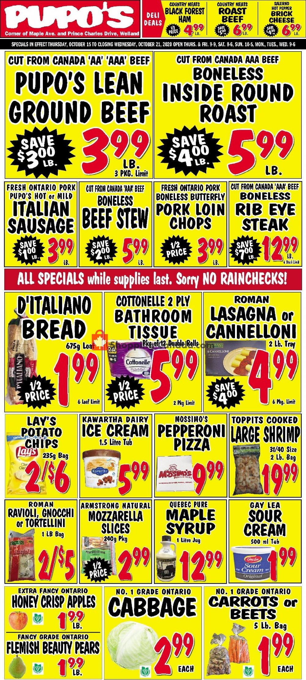 Flyer Pupo's Food Market Canada - from Thursday October 15, 2020 to Wednesday October 21, 2020