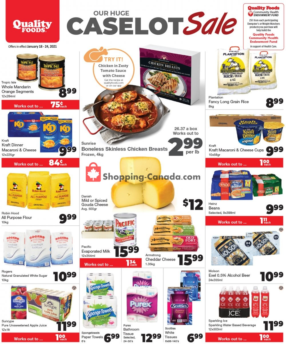 Flyer Quality Foods Canada - from Monday January 18, 2021 to Sunday January 24, 2021