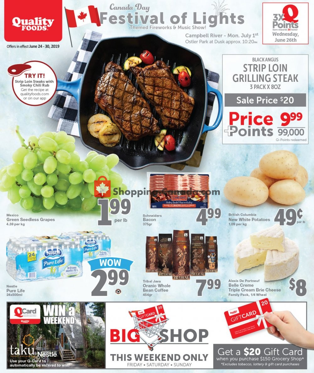 Flyer Quality Foods Canada - from Monday June 24, 2019 to Sunday June 30, 2019