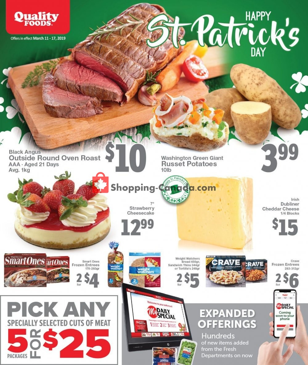 Flyer Quality Foods Canada - from Monday March 11, 2019 to Sunday March 17, 2019