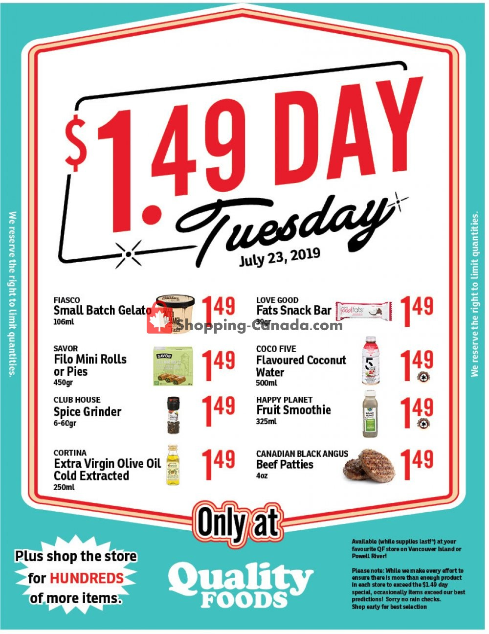 Flyer Quality Foods Canada - from Tuesday July 23, 2019 to Tuesday July 23, 2019