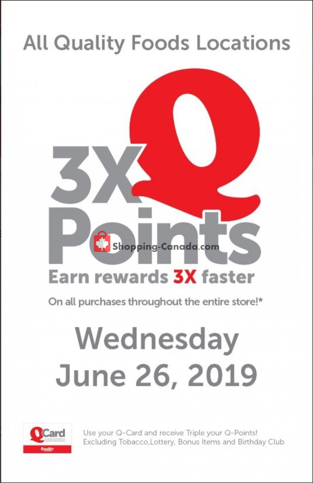 Flyer Quality Foods Canada - from Wednesday June 26, 2019 to Wednesday June 26, 2019