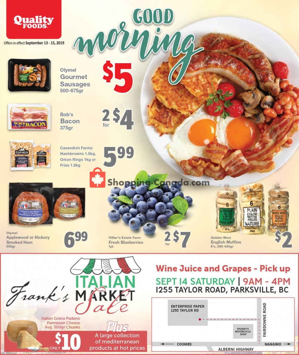 Flyer Quality Foods Canada - from Friday September 13, 2019 to Sunday September 15, 2019