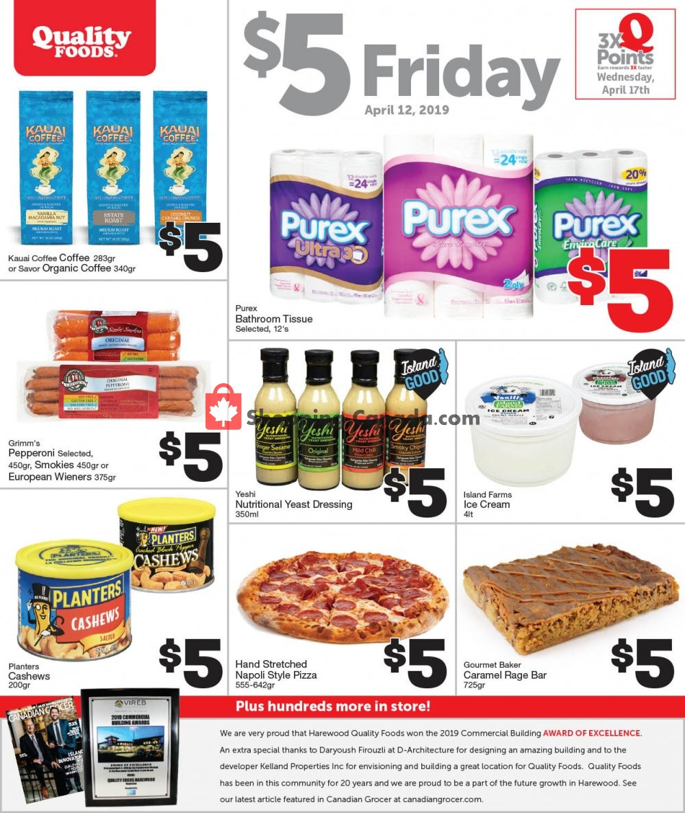 Flyer Quality Foods Canada - from Friday April 12, 2019 to Friday April 12, 2019