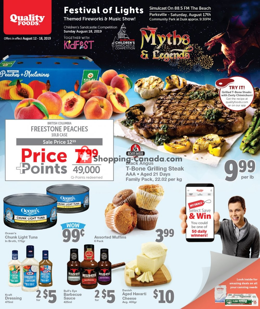 Flyer Quality Foods Canada - from Monday August 12, 2019 to Sunday August 18, 2019