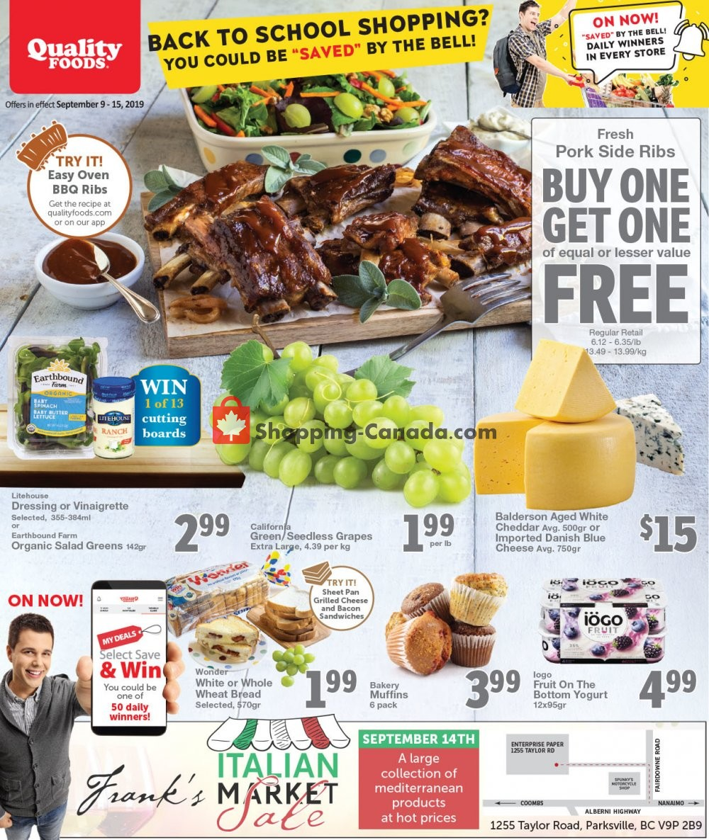 Flyer Quality Foods Canada - from Monday September 9, 2019 to Sunday September 15, 2019