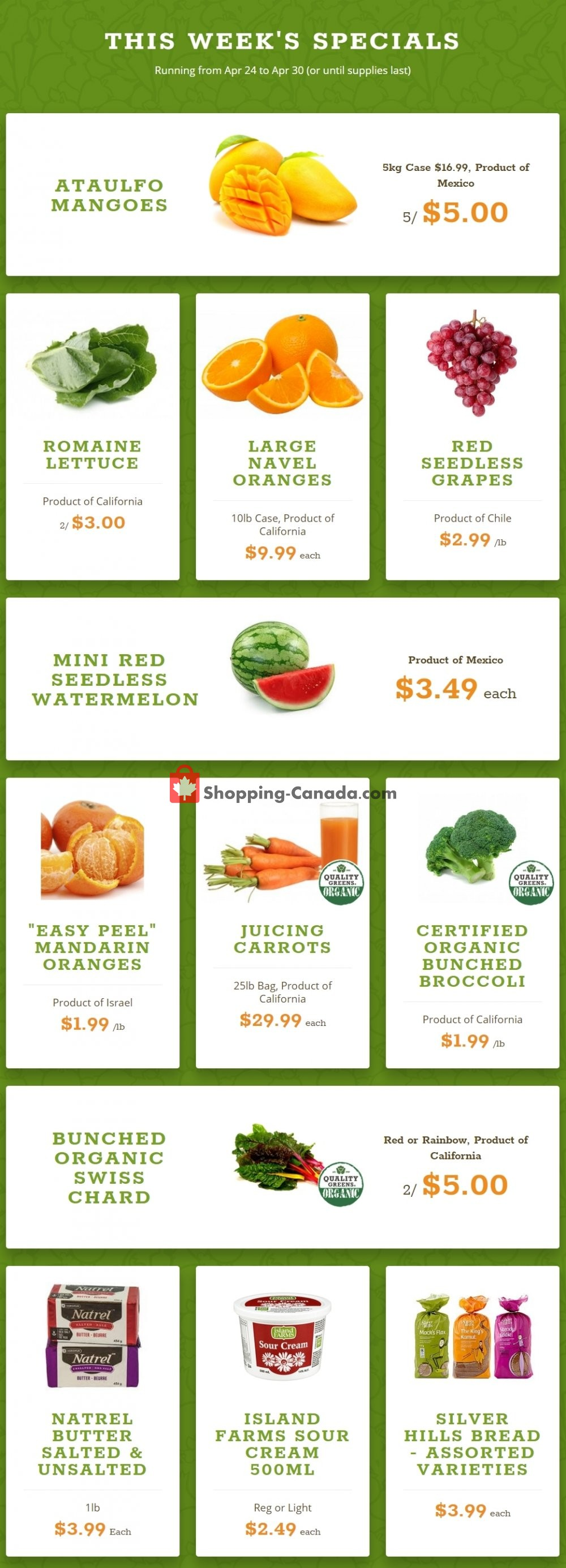 Flyer Quality Greens Canada - from Wednesday April 24, 2019 to Tuesday April 30, 2019