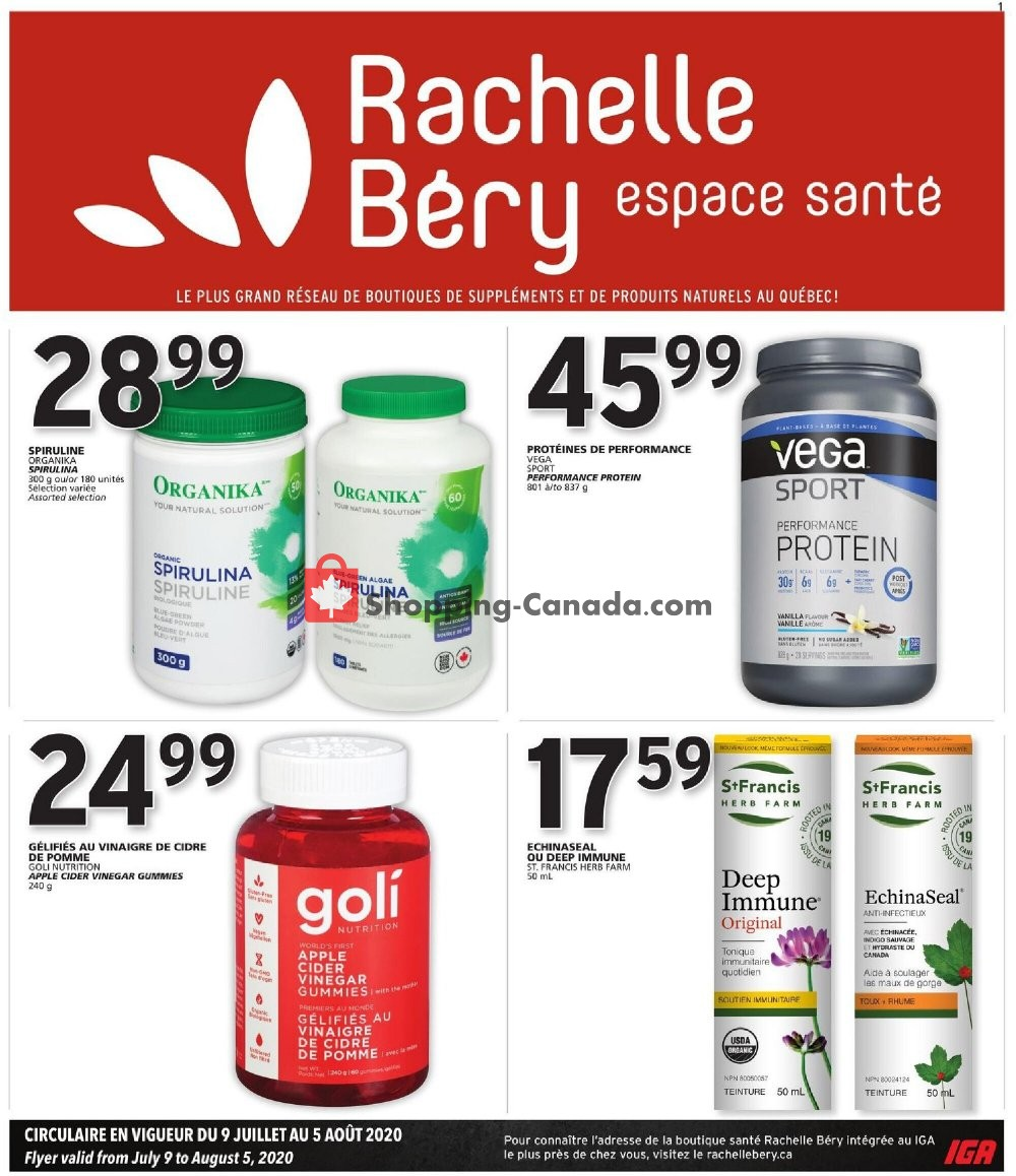 Flyer Rachelle Béry Canada - from Thursday July 9, 2020 to Wednesday August 5, 2020