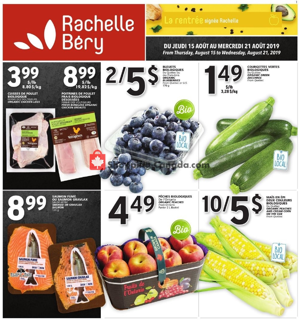 Flyer Rachelle Béry Canada - from Thursday August 15, 2019 to Wednesday August 21, 2019