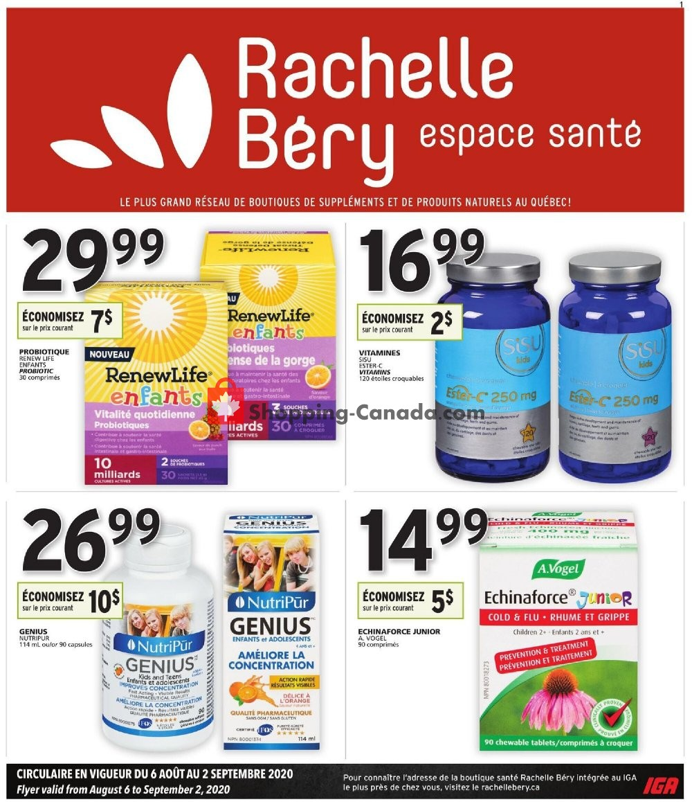 Flyer Rachelle Béry Canada - from Thursday August 6, 2020 to Wednesday September 2, 2020