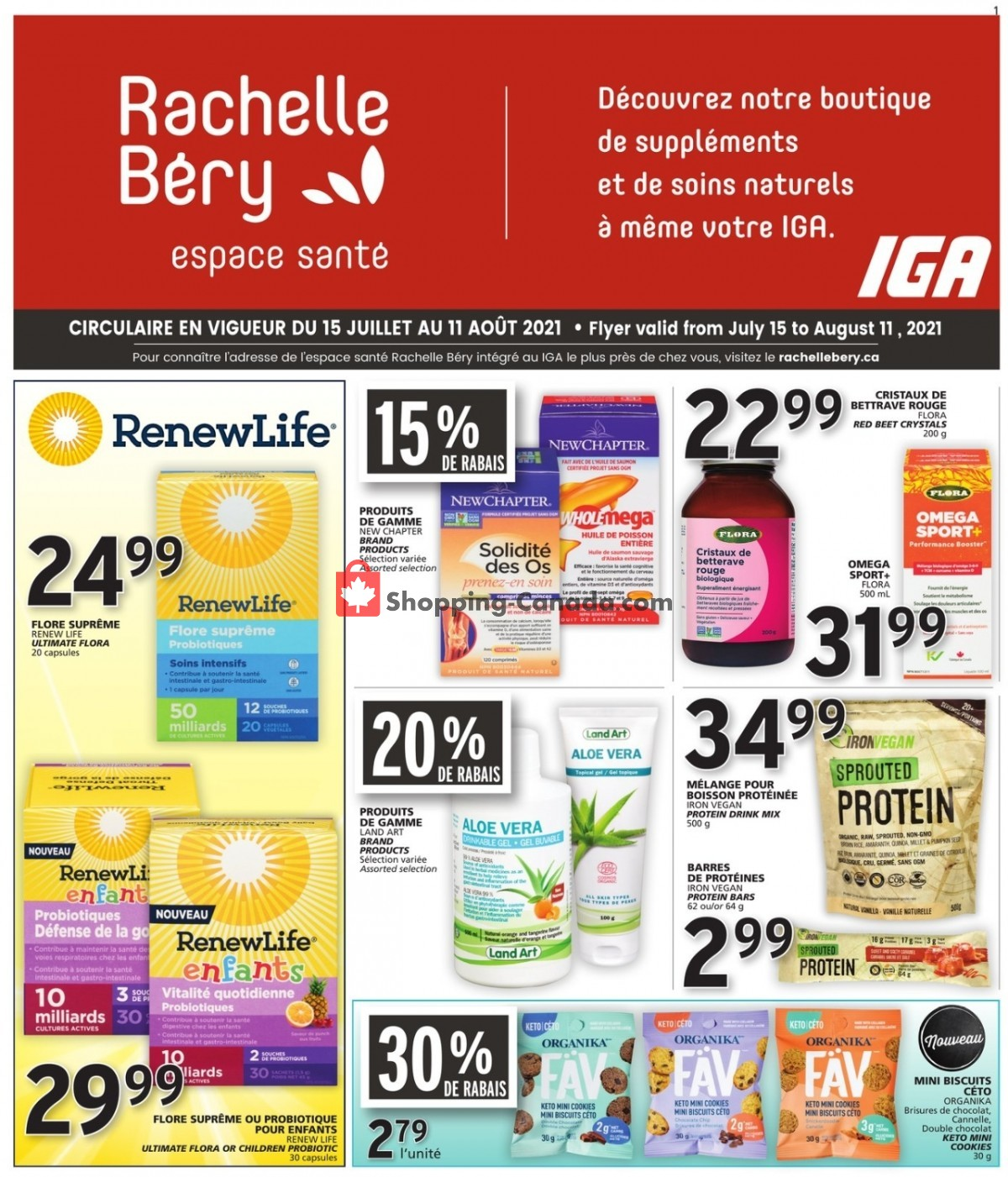 Flyer Rachelle Béry Canada - from Thursday July 15, 2021 to Wednesday August 11, 2021