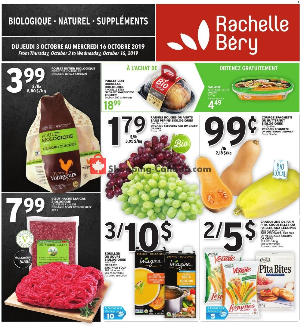 Flyer Rachelle Béry Canada - from Thursday October 3, 2019 to Wednesday October 16, 2019