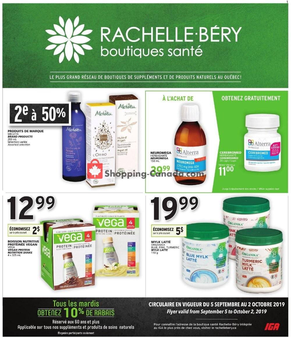 Flyer Rachelle Béry Canada - from Thursday September 5, 2019 to Wednesday October 2, 2019
