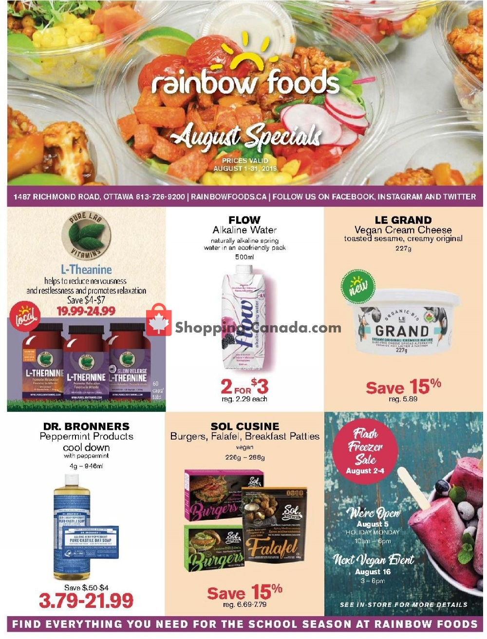 Flyer Rainbow Foods Canada - from Thursday August 1, 2019 to Saturday August 31, 2019