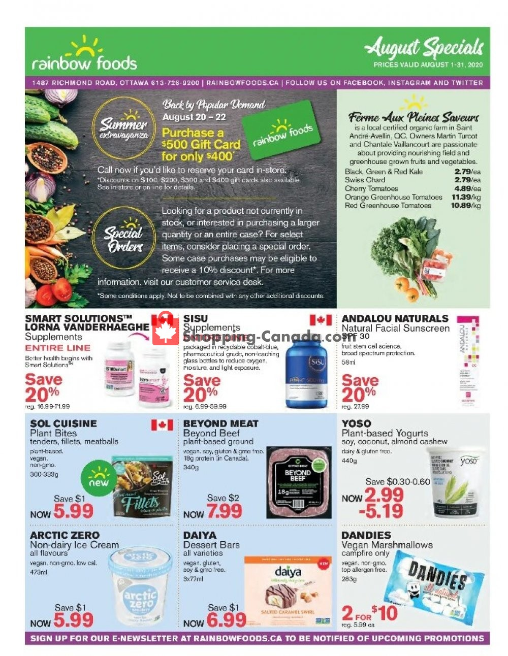Flyer Rainbow Foods Canada - from Saturday August 1, 2020 to Monday August 31, 2020
