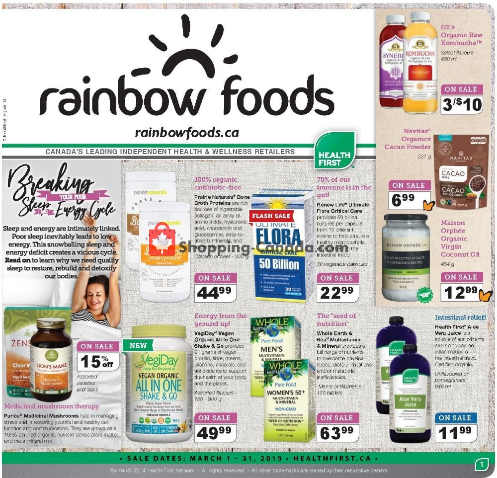 Flyer Rainbow Foods Canada - from Friday March 1, 2019 to Sunday March 31, 2019
