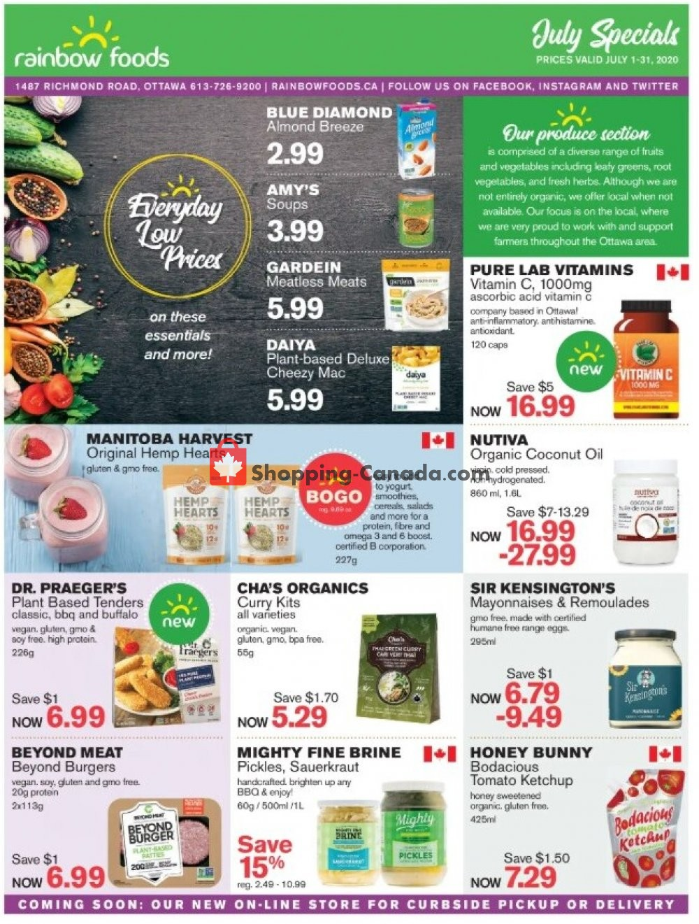 Flyer Rainbow Foods Canada - from Wednesday July 1, 2020 to Friday July 31, 2020