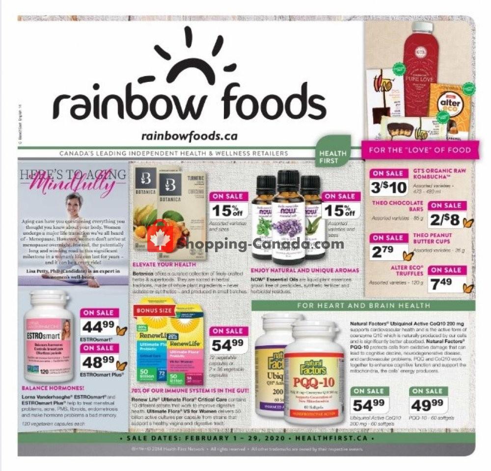 Flyer Rainbow Foods Canada - from Saturday February 1, 2020 to Saturday February 29, 2020