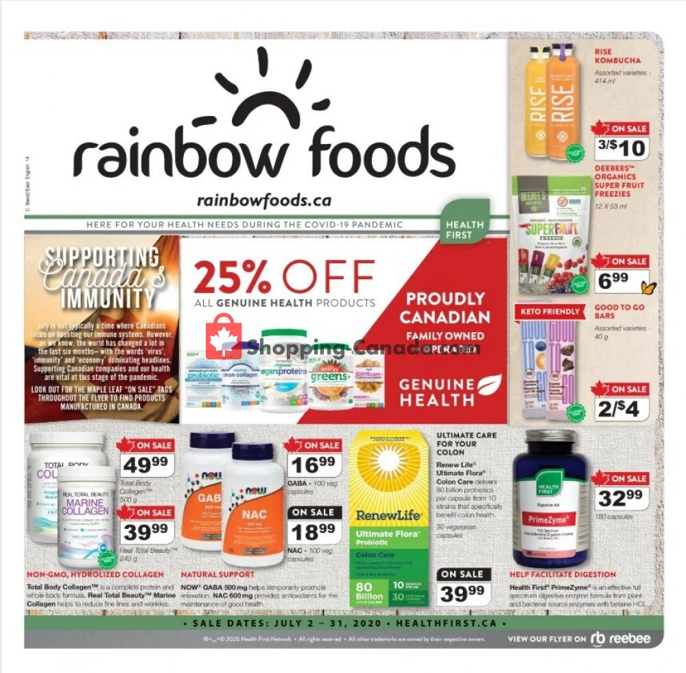 Flyer Rainbow Foods Canada - from Thursday July 2, 2020 to Friday July 31, 2020