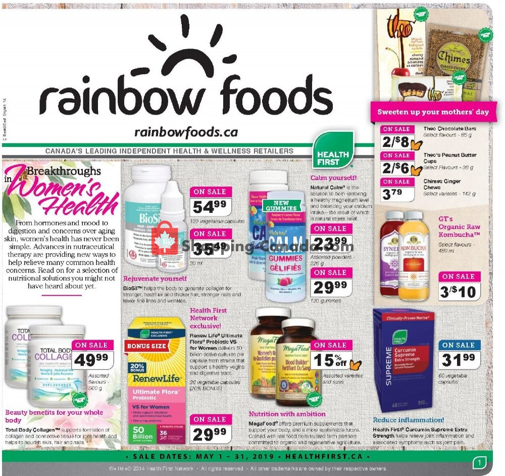Flyer Rainbow Foods Canada - from Wednesday May 1, 2019 to Friday May 31, 2019