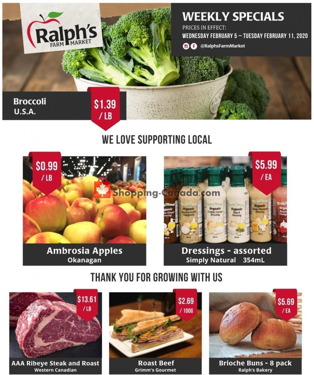 Flyer Ralph's Farm Market Canada - from Wednesday February 5, 2020 to Tuesday February 11, 2020