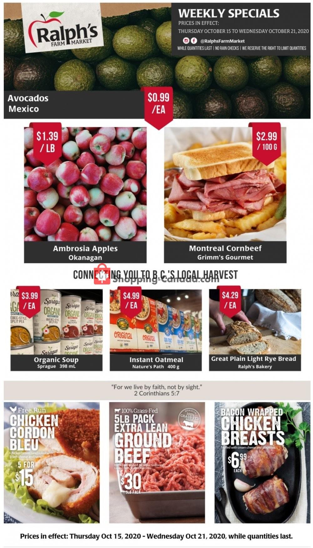 Flyer Ralph's Farm Market Canada - from Thursday October 15, 2020 to Wednesday October 21, 2020