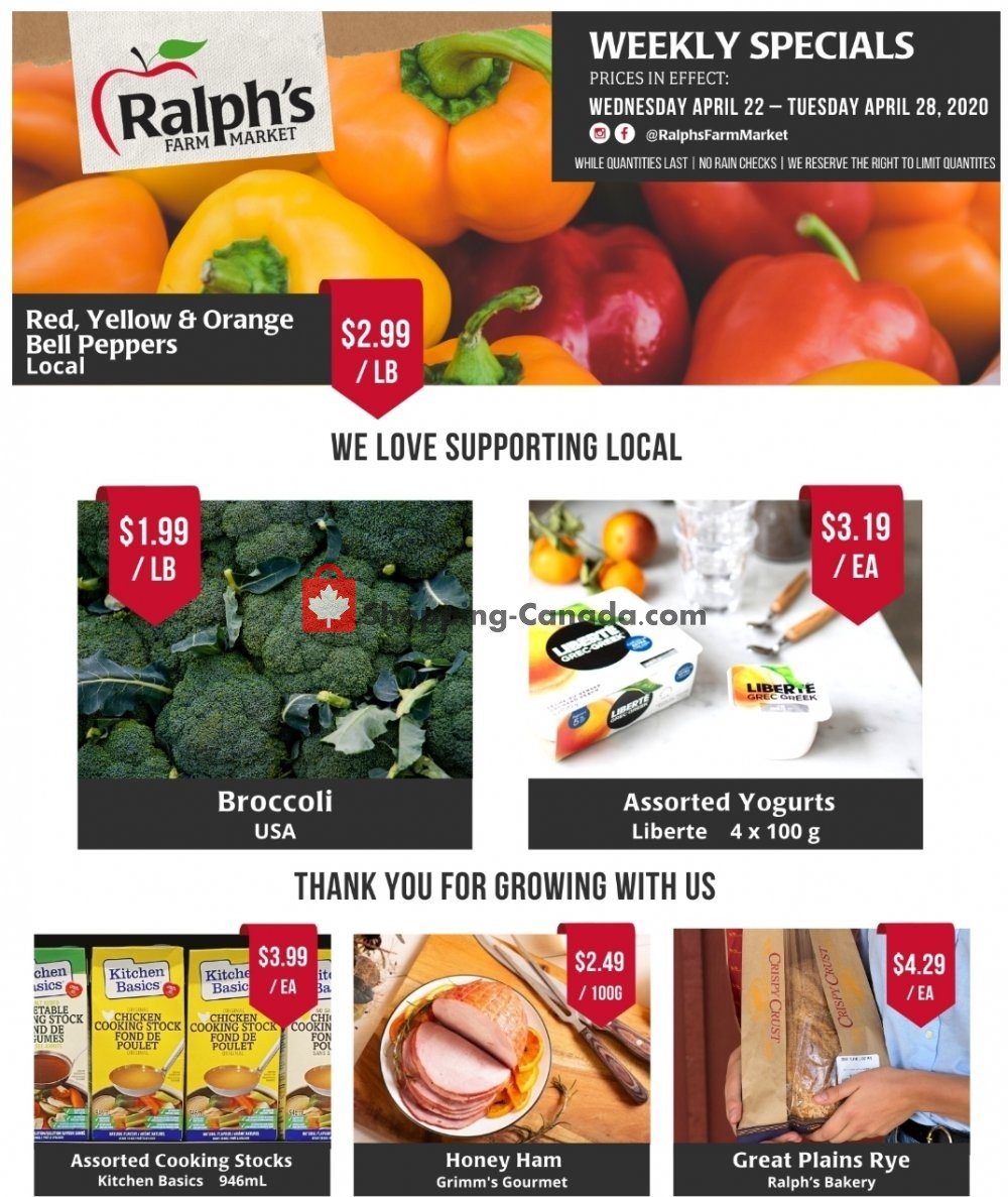 Flyer Ralph's Farm Market Canada - from Wednesday April 22, 2020 to Tuesday April 28, 2020