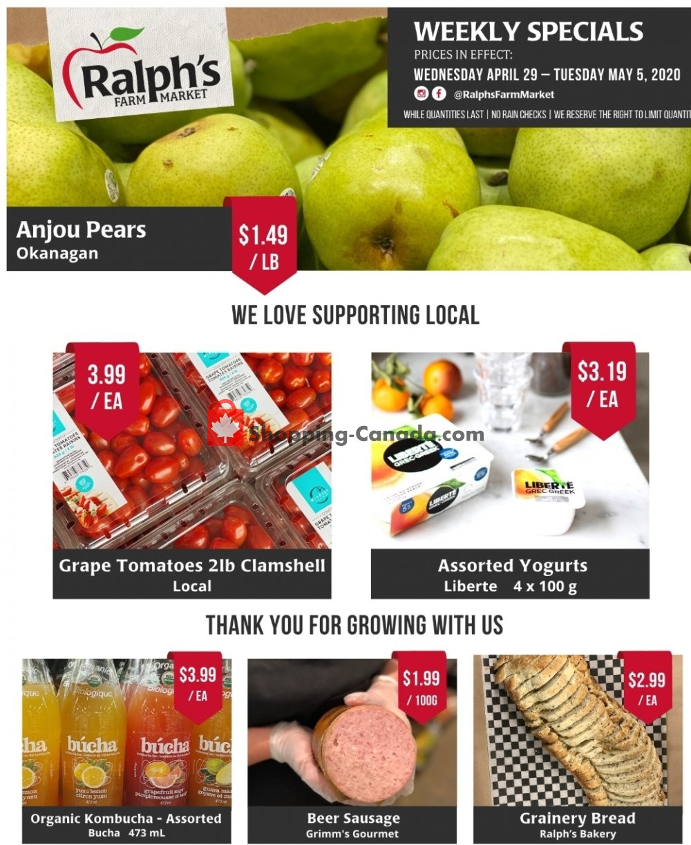 Flyer Ralph's Farm Market Canada - from Wednesday April 29, 2020 to Tuesday May 5, 2020