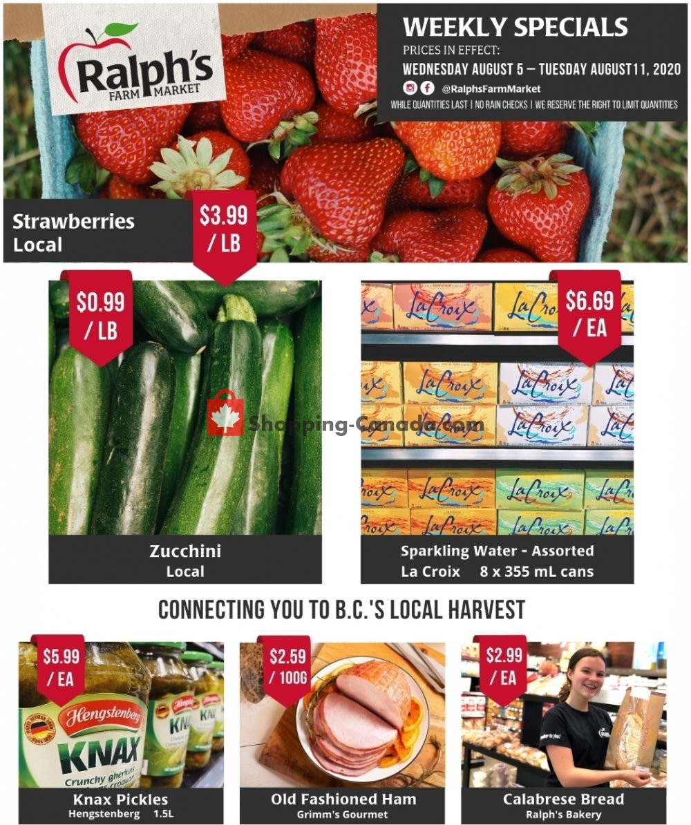 Flyer Ralph's Farm Market Canada - from Wednesday August 5, 2020 to Tuesday August 11, 2020