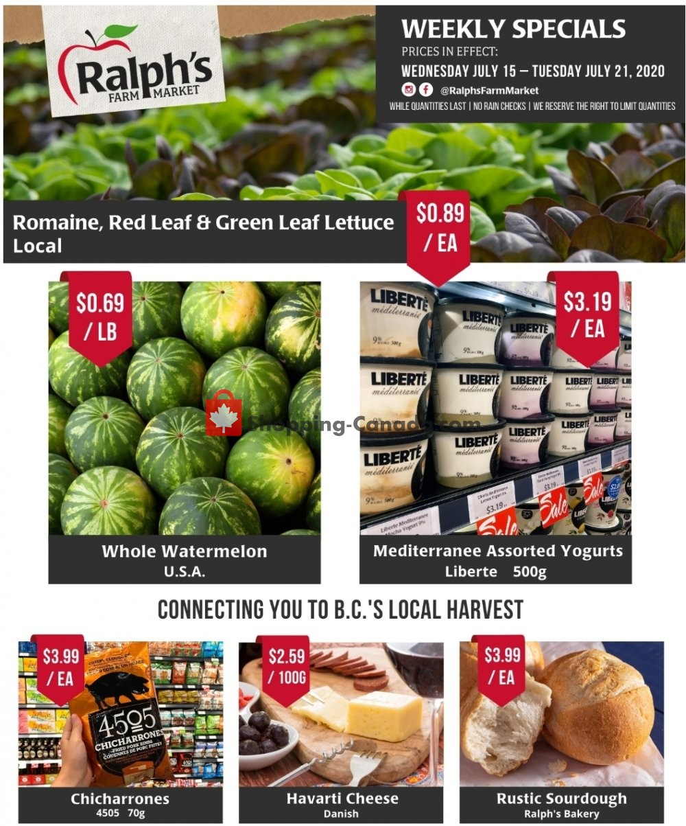 Flyer Ralph's Farm Market Canada - from Wednesday July 15, 2020 to Tuesday July 21, 2020